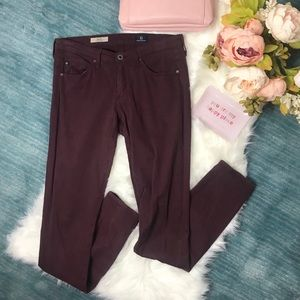 AG The Stilt Cigarette Leg Burgundy Pant Size 26